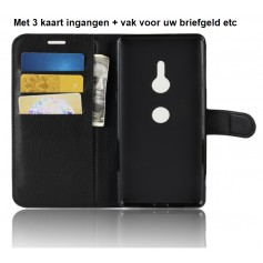 DrPhone Xperia XZ3 Flipcover - Bookcase - Luxe booktype PU Lederen Portemonnee Case – Wallet Case met Kickstand – Zwart