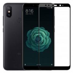 DrPhone Xiaomi Mi A2 / Mi 6X Glas 4D Volledige Glazen Dekking Full coverage Curved Edge Frame Tempered glass Zwart -