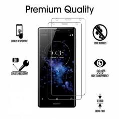 DrPhone Sony XZ2 (Premium) Glas 4D Volledige Glazen Dekking Full coverage Curved Edge Frame Tempered glass - Transparant