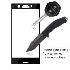 DrPhone Sony XZ1 Compact Glas 4D Volledige Glazen Dekking Full coverage Curved Edge Frame Tempered glass Zwart -