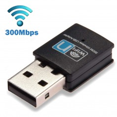 DrPhone W2 USB Draadloze WiFi-adapter (300 Mbps hoge snelheid) Ultra snel Mini WiFi-Dongle voor o.a Desktop /Laptop /PC