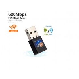 DrPhone W3 USB Draadloze Dual Band 2.4 GHz / 5 GHz WiFi-adapter (600 Mbps Ultra FAST) Superspeed Mini WiFi-Dongle voor