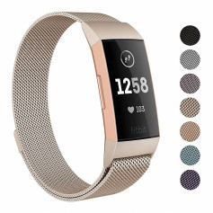 DrPhone Fitbit Charge 3 / Charge 3 SE Magnetische Milanese Armband - Roestvrij Stalen Horlogeband - Luxe Polsband –