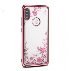 DrPhone P Smart 2019 / Honor 10 Lite Flower Bloemen Case Diamant Crystal TPU Hoesje - Rosegold