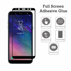 DrPhone Samsung A6 2018 Glas 4D Volledige Glazen Dekking Full coverage Curved Edge Frame Tempered glass Zwart - Official