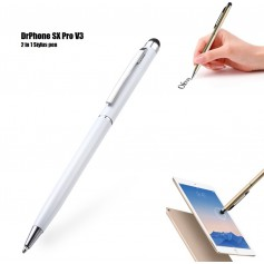 DrPhone - SX Pro V3 Universele 2 in 1 Stylus Pen Met Clip - Balpen - Schrijfpen Zwart - Geschikt voor Tablets (Vb. Apple