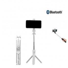 DrPhone Z1 Bluetooth draadloze Inklapbare Action Tripod Selfie Stick - Tripod Statief houder - Opvouwbaar + Bluetooth - Wit