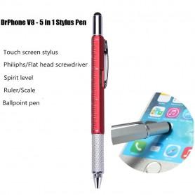 DrPhone - SX Pro V8 - 5 in 1 Stylus Pen - Balpen - Waterpas - Philips Schroevendraaier - Liniaal - Stylus Pen - Rood