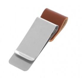 DrPhone Pen Loop – Notebook lederen pennenhouder met roestvrij stalen Clip - Apple Pen / Surface Pen / Samsung Pen - Bruin