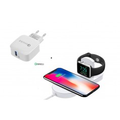 DrPhone Wireless Dock - Bureaulader - Docking Station Qi Lader - Geschikt voor - Apple Watch 4 / 3 / 2 / iPhone XS/Max - Wit