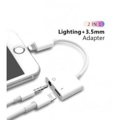 DrPhone Sound Lightning  Aux Splitter Muziek via Aux & Opladen Tegelijk Koptelefoonaansluiting 3.5mm - Wit