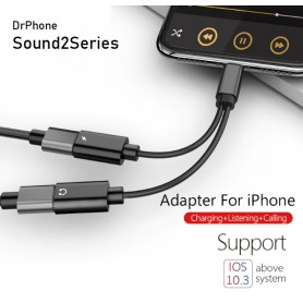DrPhone LS02 - Dual 2 in 1 Lightning Audio splitter - Audio & Oplaadadapter Converter Smart Chip - iPhone / iPad - Zwart