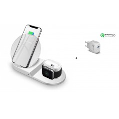 DrPhone 3 in 1 Fastcharge Dock Draadloos Oplaadstandaard + DrPhone Snellader - iPhone / Apple Watch / Airpods