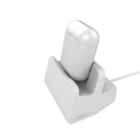 DrPhone 2in1 Docking -Telefoonhouder - Bureaustand Geschikt voor Apple Airpods & iPhone X / 8 /  7 / 6 -Wit