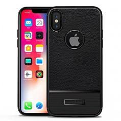 DrPhone iPhone X Rugged Armor Litchi TPU Case - Ultra Dunne Gel Silicone Hoesje - Antislip – Anti Schok Beschermhoes -