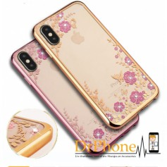 DrPhone iPhone X/XS Flower Bloemen Case Diamant Crystal TPU Hoesje Rose Gold - DrPhone Official Product