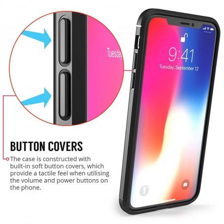 DrPhone iPhone XS MAX (6.5 inch) TPU Siliconen Autofocus Hoesje - Leren Achterkant Textuur [Valbescherming /