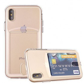 DrPhone- iPhone X hoesje - TPU Ultra Kaart Dun Slim Case Transparant
