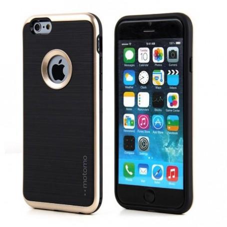 MOTOMO - iPhone 7 hoesje - 3 in 1 luxe hybrid case - TPU - slim case - design armor shockproof case - goud + gratis