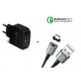DrPhone 18W Snellader Adapter/Stekker - Thuislader + DrPhone iCON Premium TYPE-C Magnetisch USB-C Oplaadkabel