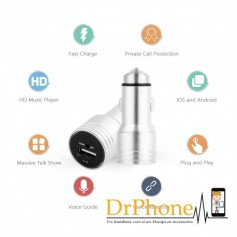 DrPhone 5 in 1 Bluetooth Autolader / Noodhamer / Muziek streamen FM / Navigatie Streamen / Handsfree bellen / Snellader