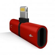 DrPhone Audio Splitter Adapter - 2 Lightning Poorten - Stereo Sound - Opladen + Audio Beluisteren - 2 in 1 Lightning