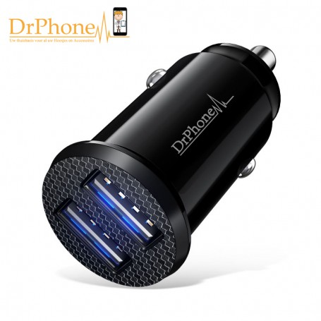 DrPhone Invisible 5V 2.4A USB Auto Oplader + 1 Meter Type C Oplaadkabel USB-C - HUAWEI Mate 20 Pro, Mate 20 Lite, Mate