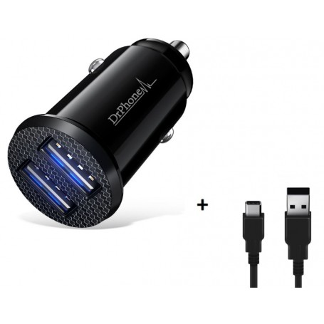 DrPhone Invisible 5V 2.4A USB Auto Oplader + 1 Meter Type C Oplaadkabel USB-C - Samsung Galaxy S10 , 10E, S10 + , Plus ,