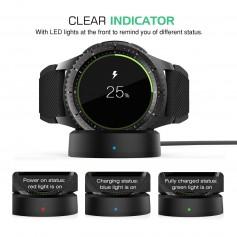 DrPhone QI Wireless Charging Dock voor Samsung Gear S2, Gear S3 & Gear S4 Oplader Samsung Watch Horloge Smartwatch Zwart