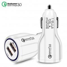 DrPhone Qualcomm 3.0 Fast Charge 30W Auto Oplader Dual Poort 2 Poorten Snellader Reislader Auto Lader QC 3.0 - 30W -
