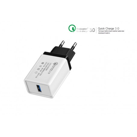 DrPhone Quick Charge 3.0 USB 18W Charger Adapter Snellader Thuislader Fast Charge Reis Adapter Universeel Compatibel