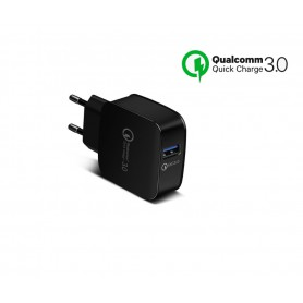 DrPhone Quick Charge Series - Snellader Adapter/Stekker - Thuislader - Oplader Met Snel Opladen Functie - 9V 2A -18W - Zwart