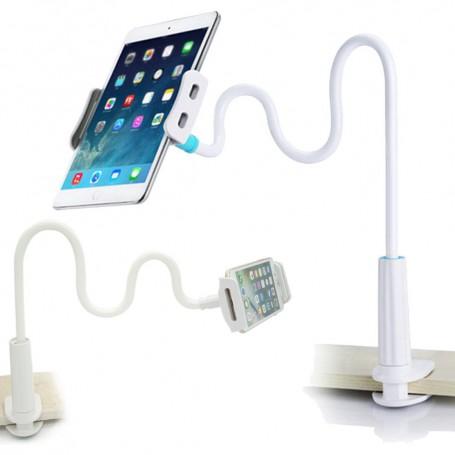 DrPhone Zwanenhals Tablet & Mobiele Telefoonhouder – Boutklemvoet – Flexibel – Zwart