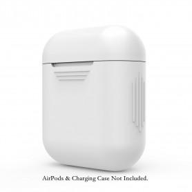 DrPhone Siliconen AirPod Case – Beschermende siliconen hoes en huid voor AirPods Charging Case – Wit