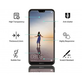 DrPhone 2x Huawei P20 Lite Glas - Glazen Screen protector - Tempered Glass 2.5D 9H (0.26mm)