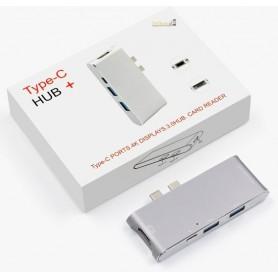6 in 1 - Aluminium DrPhone Thunderbolt 3 - USB-C Adapter Hub - 4K HDMI -  Type C Hub SD/Micro SD - Zilver