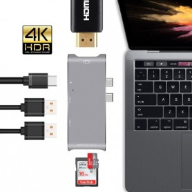 6 in 1 - Aluminium DrPhone Thunderbolt 3 - USB-C Adapter Hub - 4K HDMI - Thunderbolt 3 - Type C Hub SD/Micro SD - Lezer