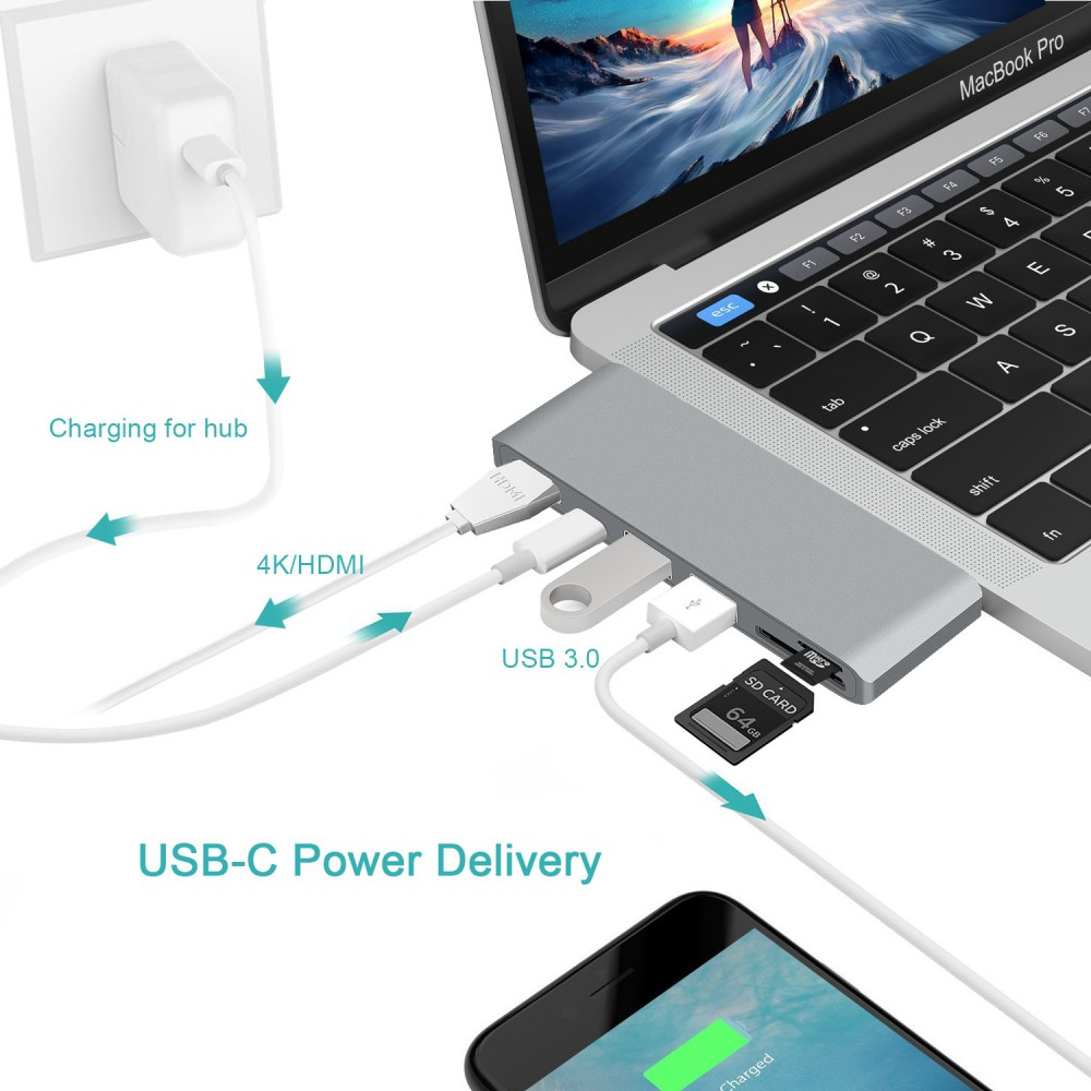 6 in1 USB 3.0 Hub 6 Ports Type-C USB C Splitter Charge Adapter For PC Laptop MAC