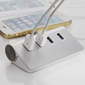 DrPhone - 4 Poort Hub - Aluminium Casing - USB Hub 4 USB 3.0 poorten - High Speed - Uitbreiding van USB Computer /