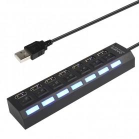 DrPhone - 7 Poort Hub Multi USB 2.0 Hub Adapter Hoge Snelheid 7 Poorten Hub USB Aan / Uit Schakelaar Draagbare USB