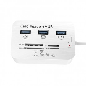 Multi Type-C naar USB 3.0 HUB Splitter - 1x SD / 1x Micro SD / 3x USB 3.0 / 1x MS duo / 1x M2 Kaartlezer + Hub - USB C