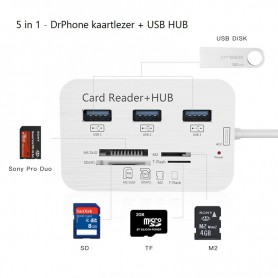 Multi Type-C naar USB3.0 HUB Splitter - 1x SD / 1x Micro SD / 3x USB 3.0 / 1x MS duo / 1x M2 Kaartlezer + Hub Card