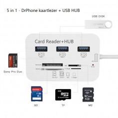 Multi Type-C naar USB3.0 HUB Splitter - 1x SD / 1x Micro SD / 3x USB 3.0 / 1x MS duo / 1x M2 Kaartlezer + Hub Card