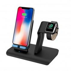 DrPhone 2in1 Fastcharge Draadloze Oplaadstandaard - Dockingstation - Geschikt voor iWatch Series 3/2/1 & iPhone - Zwart