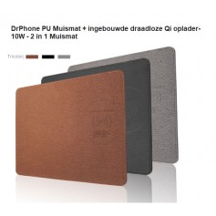 DrPhone PU Muismat + ingebouwde draadloze Qi oplader- 10W - 2 in 1 Muismat -Zilver