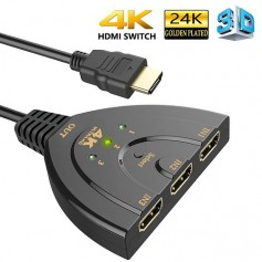 DrPhone HDMI-switch Splitter met Pigtail kabel - 3-poorten 4Kx2K HDMI-switch - 3-in-1-out - Zwart