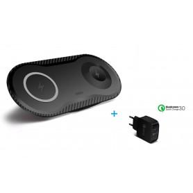 DrPhone Compaq - 2 in 1 Draadloze QI Oplader – 10W -  Compact voor o.a. Apple Watch 1/2/3/4  + Smartphone - Zwart
