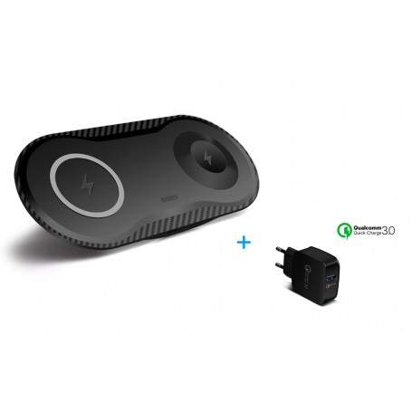 DrPhone Compaq - 2 in 1 Draadloze QI Oplader – 10W -  Compact voor o.a. Apple Watch 1/2/3/4  + Smartphone