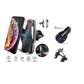 DrPhone Smart Sensor Draadloze Ventilatie 360 graden Rotatie Autohouder & Autolader 10W Wireless Charger Snellader -