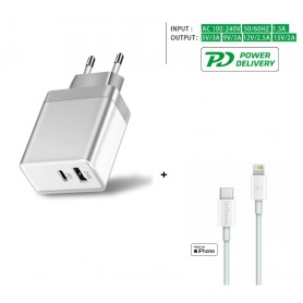 DrPhone QuickZ Series - MFI Kabel + 30W Power Delivery Adapter - PD 1 Meter - USB C naar Lightning kabel - 9V 3A - Apple iPhone